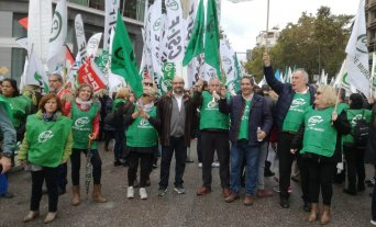 Delegados sindicales de CSIF de la Región de Murcia participan en Madrid en la protesta contra la reforma de la LOPJ