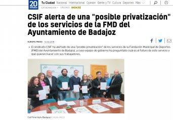 """CSIF alerta de una """"posible privatización"""" de los servicios de la FMD del Ayuntamiento de Badajoz"""