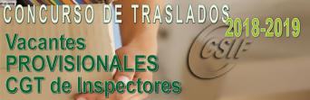 Vacantes PROVISIONALES del Concurso de Traslados de Inspectores 2018-2019