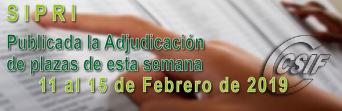 Publicada la Adjudicación CENTRALIZADA de esta semana (11 al 15 de Febrero - 2019)