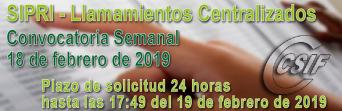 SIPRI - Convocatoria semanal del llamamiento Centralizado de Interinos - (18-2-2019)