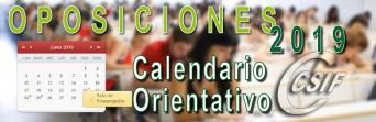 CALENDARIO ORIENTATIVO OPOSICIONES 2019