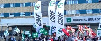 CSIF se concentra en ocho grandes hospitales andaluces para reclamar el pago pendiente del Complemento de Rendimiento Personal de 2019