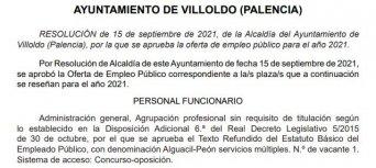 Oferta de empleo público del Ayuntamiento de Villoldo