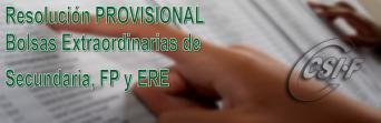 Resolución PROVISIONAL de diferentes BOLSAS de Secundaria, FP y ERE