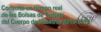 Activada la consulta en tiempo real de las BOLSAS de TRABAJO del Cuerpo de MAESTROS