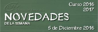 Andalucía - Novedades de la Semana 5/12/2016