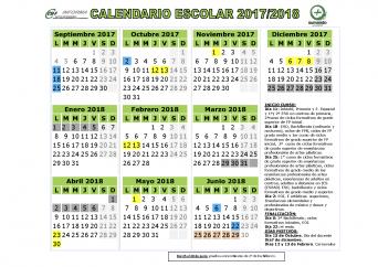 Calendario escolar para el curso académico 2017-2018