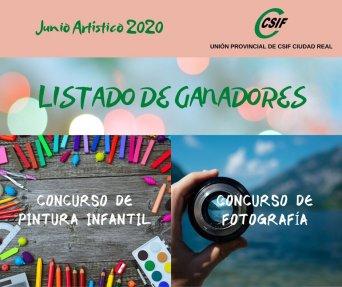 Cartel del listado de ganadores de los concursos de Pintura Infantil y Fotografía