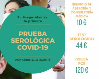 CSIF apuesta por la seguridad de sus afiliados frente a la Covid-19 con sus descuentos en test PCR y serológicos para afiliados
