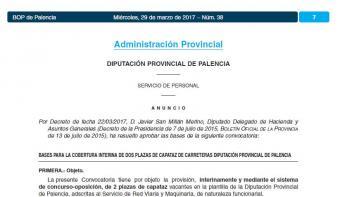 Convocatoria de dos plazas de capataz de carreteras (funcionario interino) en la Diputación de Palencia