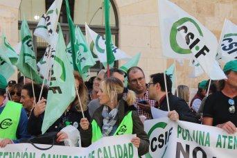 Cristina Sánchez, delegada de CSIF, en un acto de protesta del sindicato