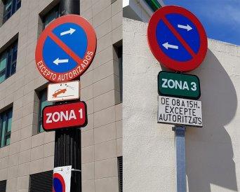 Diferencia de señalización en aparcamiento juzgados