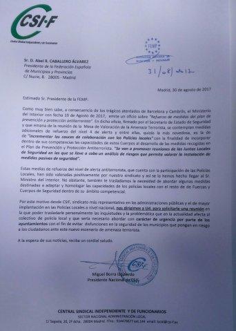 Carta CSIF Presidente de la FEMP lucha antiterrorista