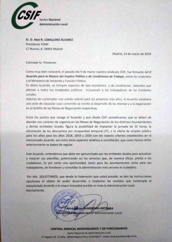 Carta para el cumplimiento del II Acuerdo para la Mejora del Empleo Público y de Condiciones de Trabajo.