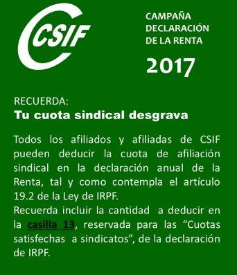 CSIF tu afiliación desgrava