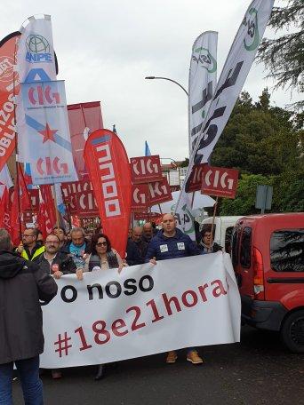 Concentración de delegados sindicais fronte à Consellería