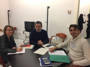 La diputada Eva Alcón con los representantes de CSI·F Artemio y Miguel Ángel Almonacid
