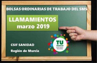 Orden de puntuación de los llamamientos de las bolsas de trabajo ordinarias del SMS del mes de mayo de 2019