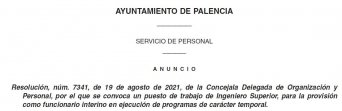 Ingeniero Superior en el Ayuntamiento de Palencia