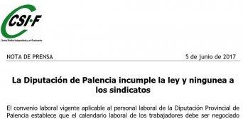 La Diputación de Palencia incumple la ley y ningunea a los sindicatos