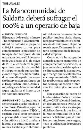 La Mancomunidad de Saldaña deberá sufragar el 100% a un operario de baja
