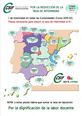 Mapa con tasa de interinidad 2019