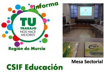 Resumen de la reunión de la Mesa Sectorial de Educación del martes 09 de octubre de 2018