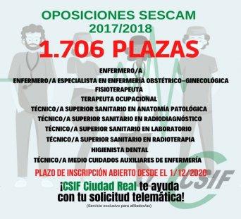 El Sescam publica la convocatoria para cubrir 1.706 plazas de diez categorías