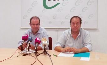 Ramón Caballero, (izquierda), y Julio Retamosa, en la rueda de prensa celebrada en Toledo