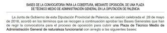 Técnico Medio de Administración General en la Diputación de Palencia