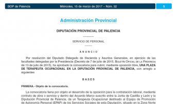 Convocatoria de una plaza de terapeuta ocupacional en la Diputación de Palencia
