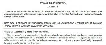 bases funcionario interino y bolsa de trabajo auxiliar administrativo en el Ayuntamiento de Magaz de Pisuerga