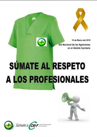 Cartel Día Nacional contra las agresiones en el ámbito sanitario