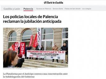 Los policías locales de Palencia reclaman la jubilación anticipada.