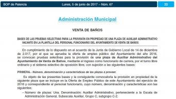 convocatoria de auxiliar administrativo en el Ayuntamiento de Venta de Baños