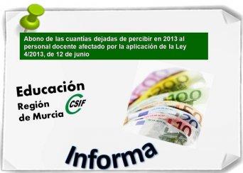 Abono de las cuantías dejadas de percibir en 2013 al personal docente afectado por la aplicación de la Ley 4/2013, de 12 de junio