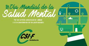 Cartel editado por CSIF-A con motivo del Día de la Salud Mental