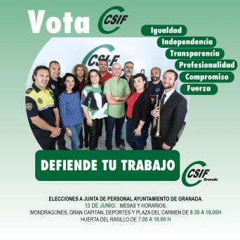 Elecciones Junta de Personal Ayto. Granada 13 junio CSIF