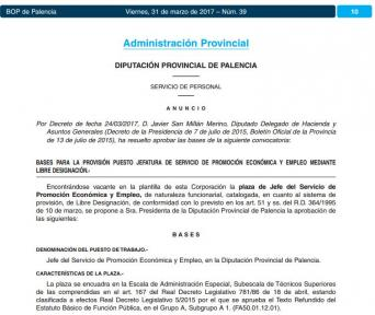 Convocatoria Jefe de servicio de Promoción Económica y Empleo, libre designación, en la Diputación de Palencia
