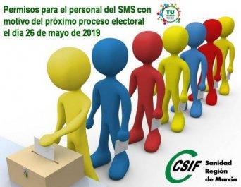 Concesión de permisos para el personal del SMS con motivo del próximo proceso electoral el día 26 de mayo de 2019