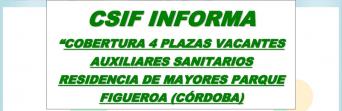 CSIF logra la cobertura de 4 plazas vacantes de Auxiliares Sanitarios
