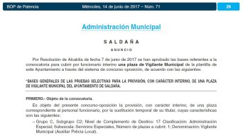 vigilante municipal interino en el ayuntamiento de Saldaña