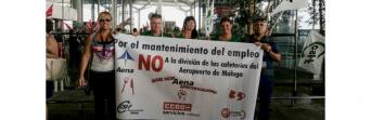 Protesta de los trabajadores de los bares del Aeropuerto de Málaga el pasado mes de julio.