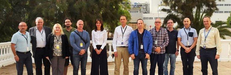 Delegados sindicales de Csif (tres primeros por la izquierda), durante su visita a las instalaciones de Sabic