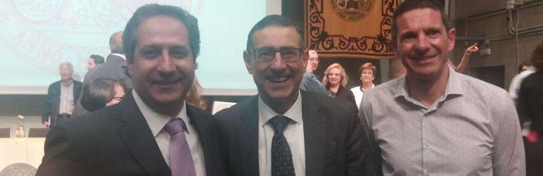 En la imagen,  el rector (centro), junto a Juan Miguel López Blanco (izquierda), y al responsable de Universidades de CSIF en la Región de Murcia, Ángel Aznar (derecha)