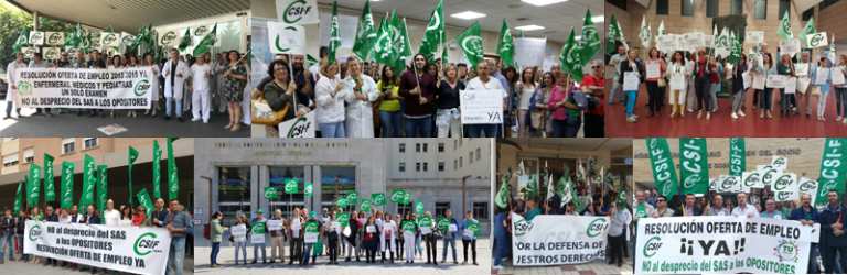Cientos de delegados de CSIF-A se concentran contra la tardanza en la resolución de las oposiciones al SAS