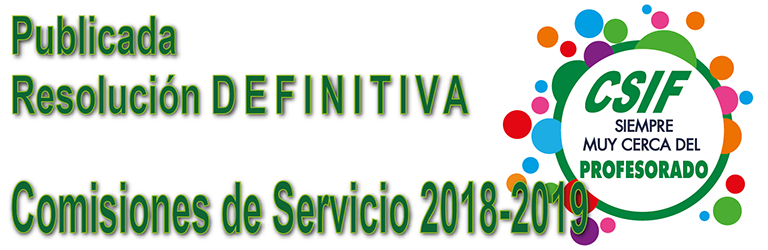 Publicada la Resolución DEFINITIVA de las Comisiones de Servicio