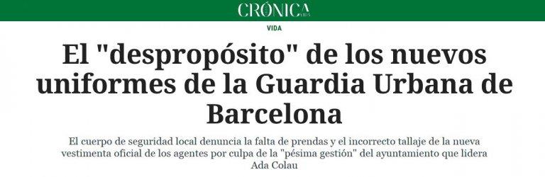 """El """"despropósito"""" de los nuevos uniformes de la Guardia Urbana de Barcelona"""