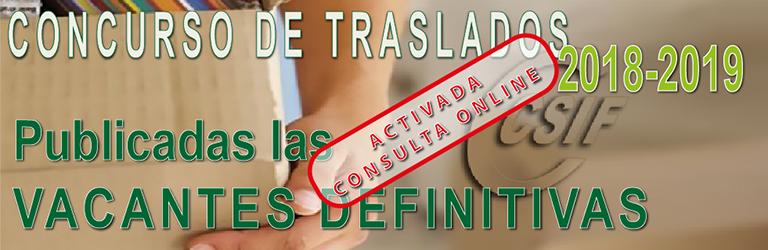 VACANTES DEFINITIVAS DEL CONCURSO DE TRASLADOS 2018-2019
